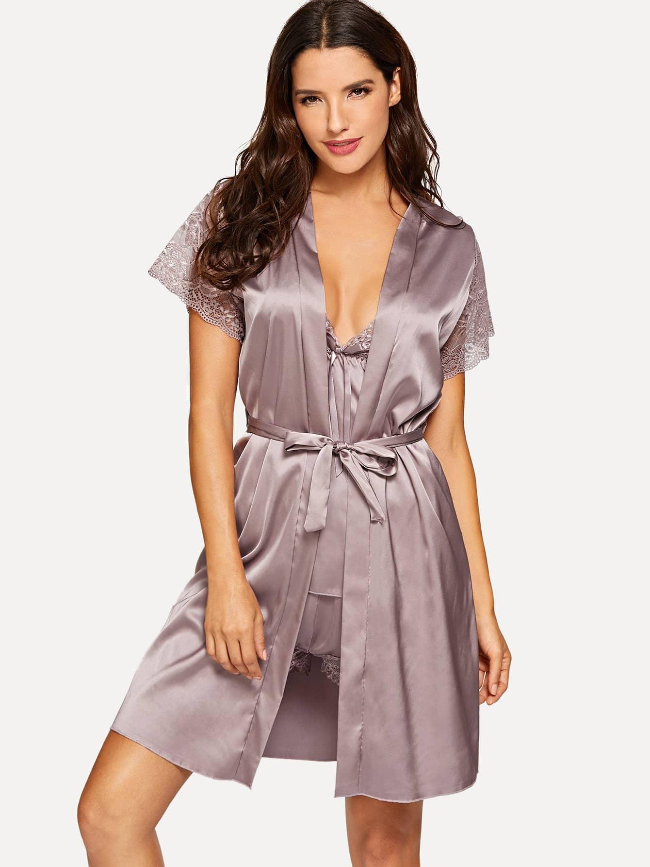 Купить Комплект пижамы со симметрическими кружевами и домашний халат, Juliana, SheIn
