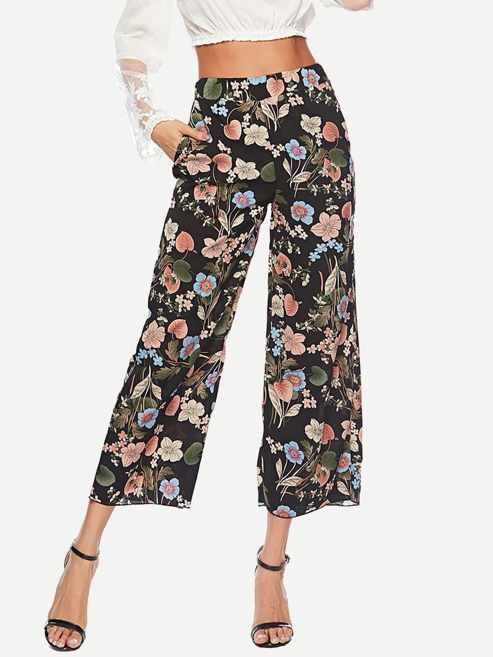 Купить Широкие ножные штаны с рисунками растений, null, SheIn