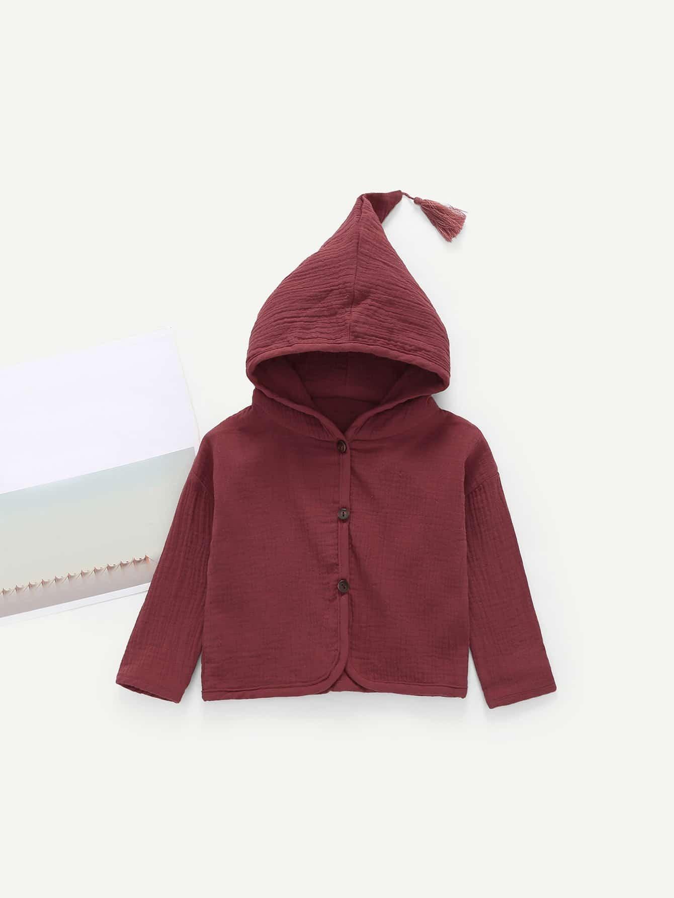 Girls Tassel Detail Hoodie Coat
