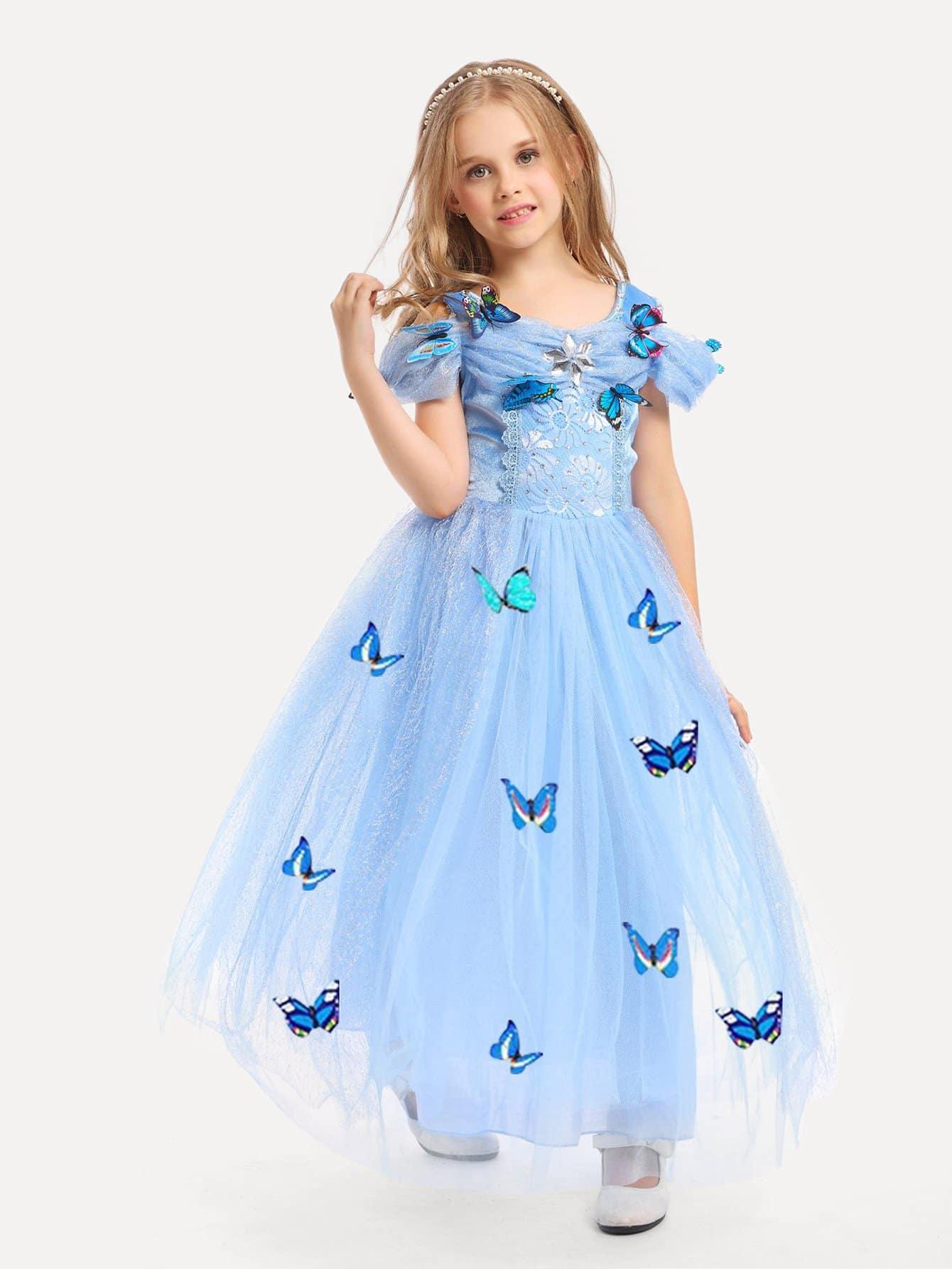 Девочки Стерео Деталь Бабочки Наложение Сетки Платье