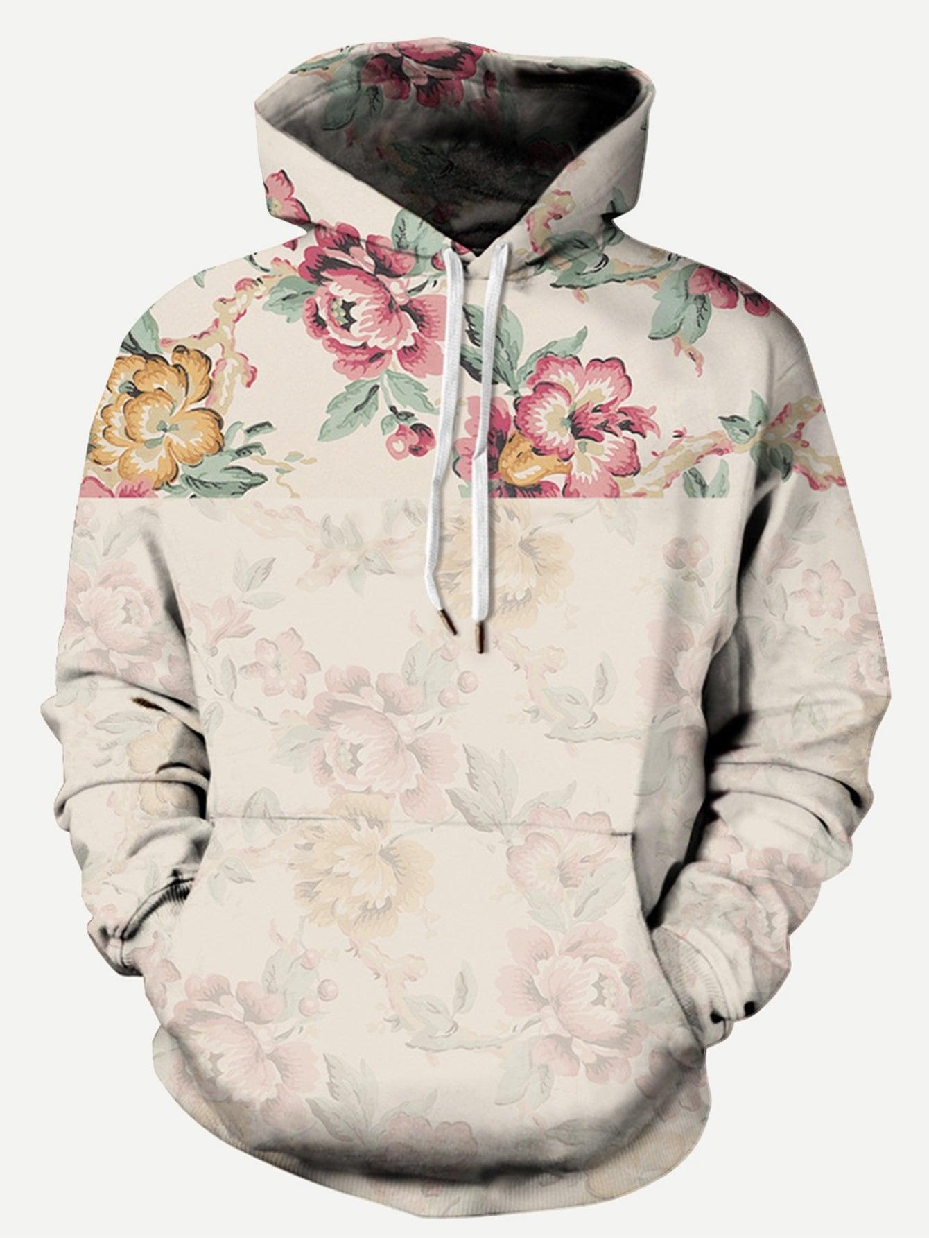 Купить Со цветочками на кулиске Многоцветный Мужские толстовки, null, SheIn