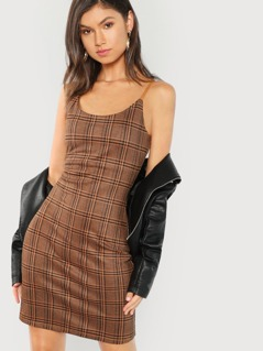 Form Fitting Plaid Cami Dress