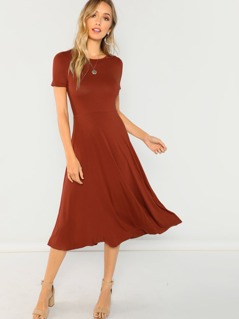 Short Sleeve Solid Flare Dress