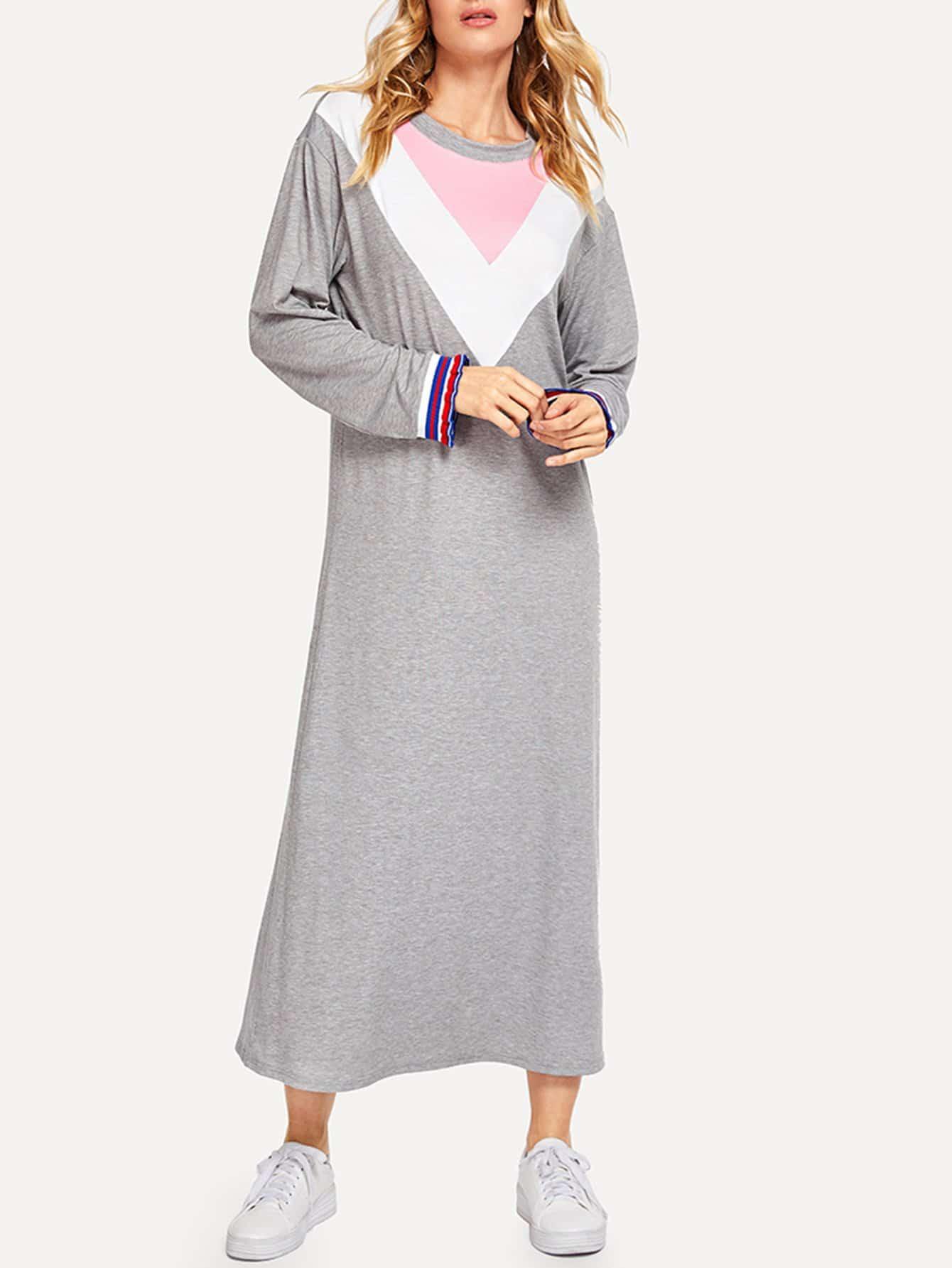 Купить Контрастное платье-свитшота шеврона с полосатыми рукавами, Masha, SheIn