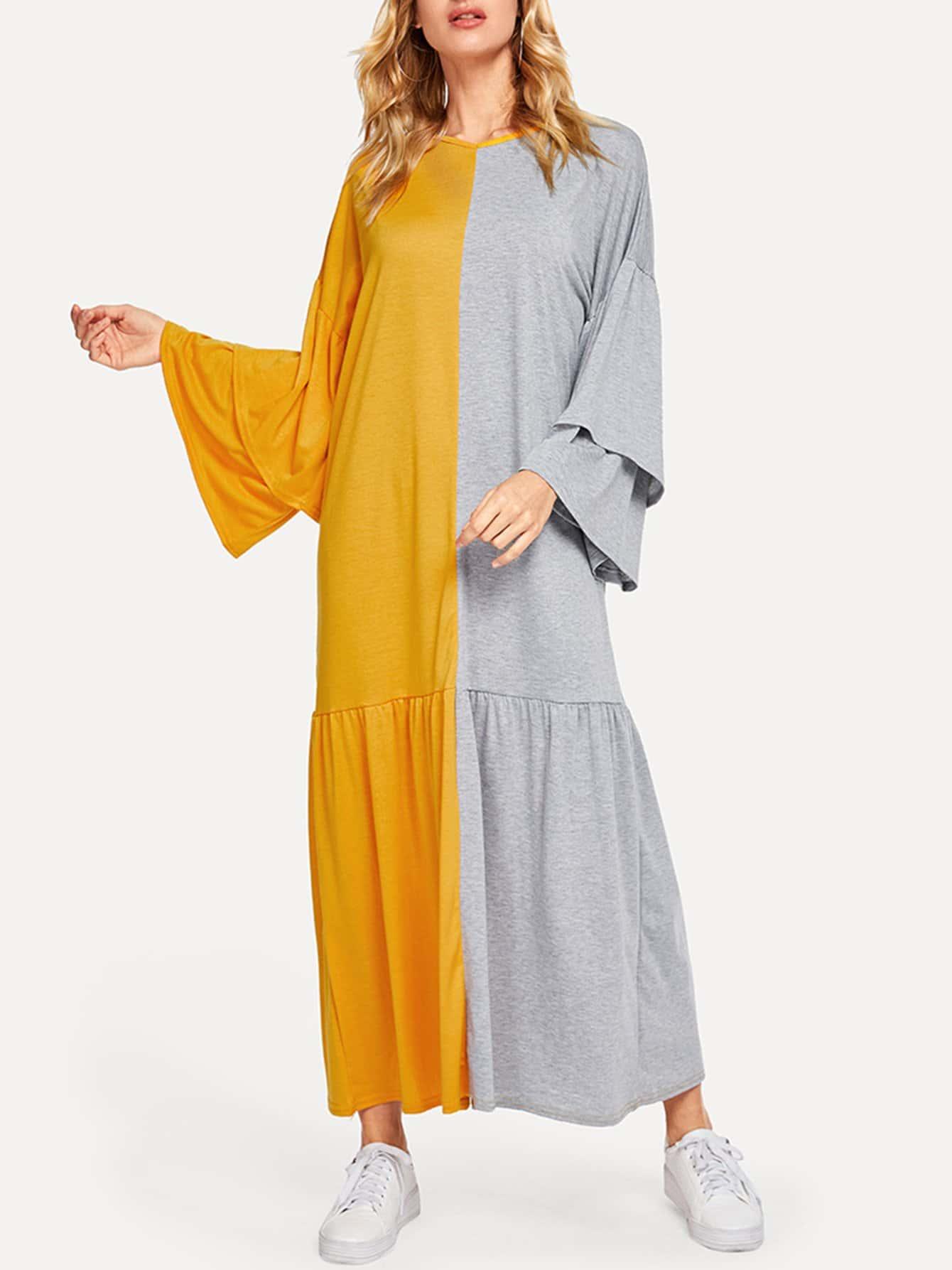 Купить Контрастное платье-рубашки, Masha, SheIn