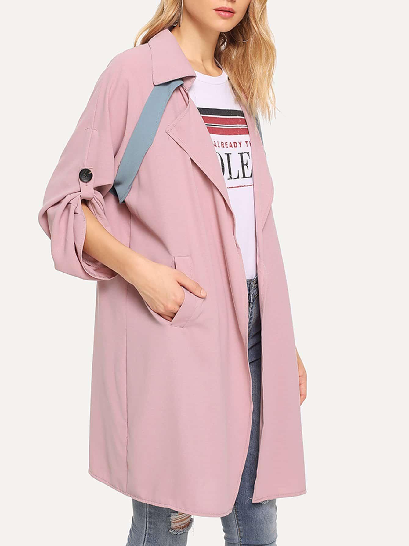 Купить Контрастное длинное пальто, Nedab, SheIn