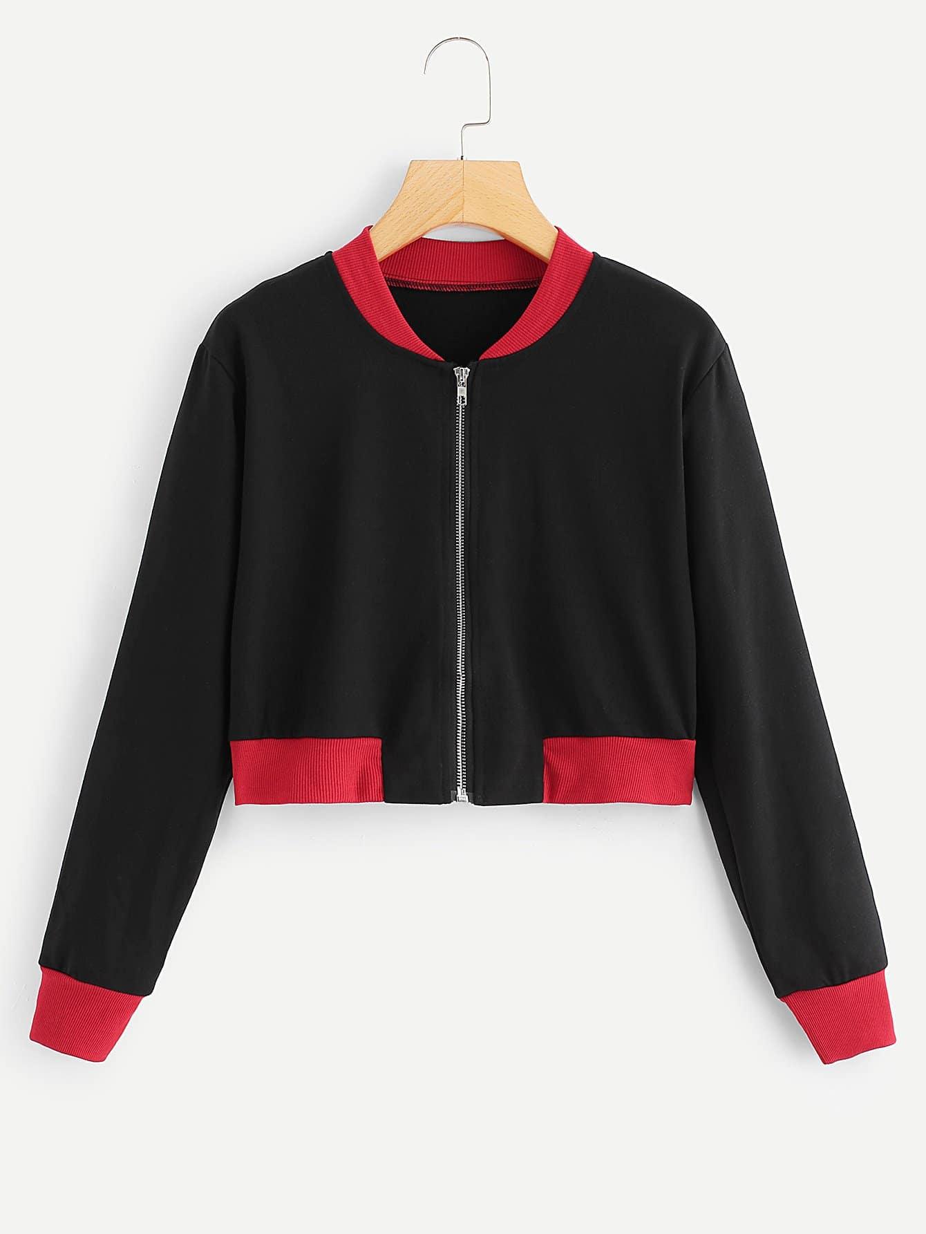 Zip Front Colorblock Crop Jacket