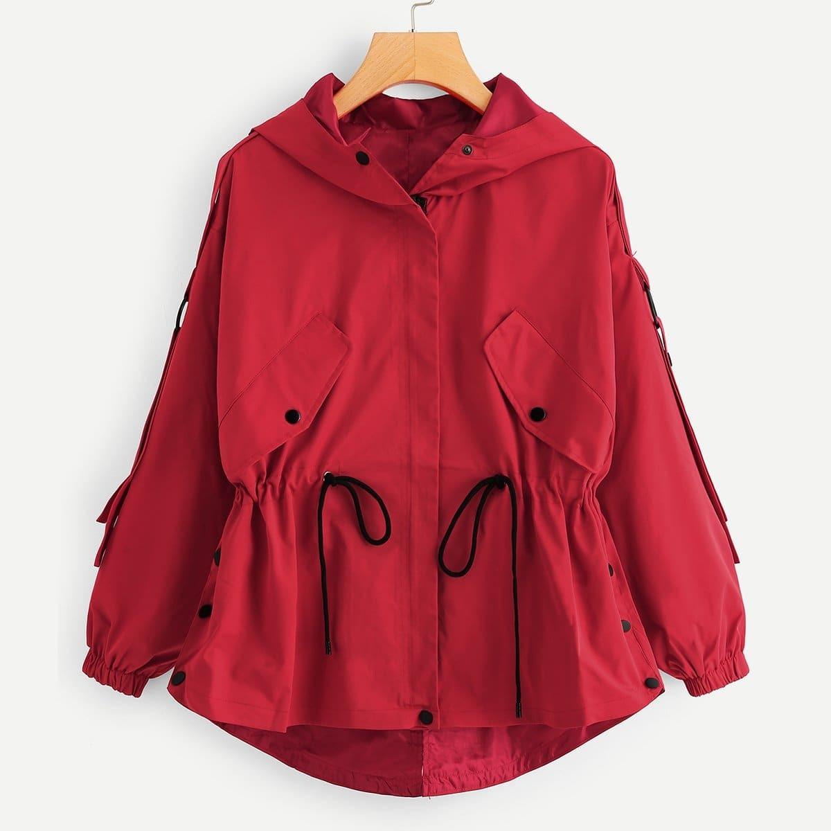 Bovenkleding jas met kap en taille met trekkoordjes