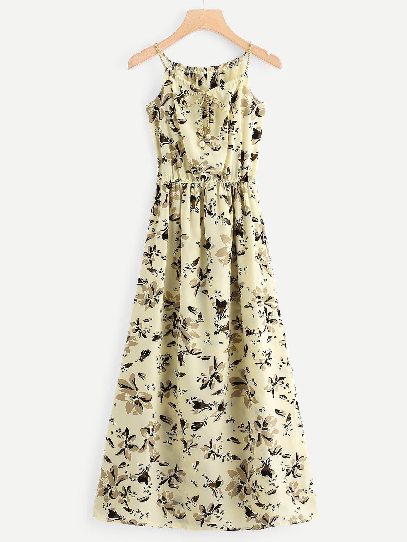 Floral Print Faux Pearl Detail Cami Dress