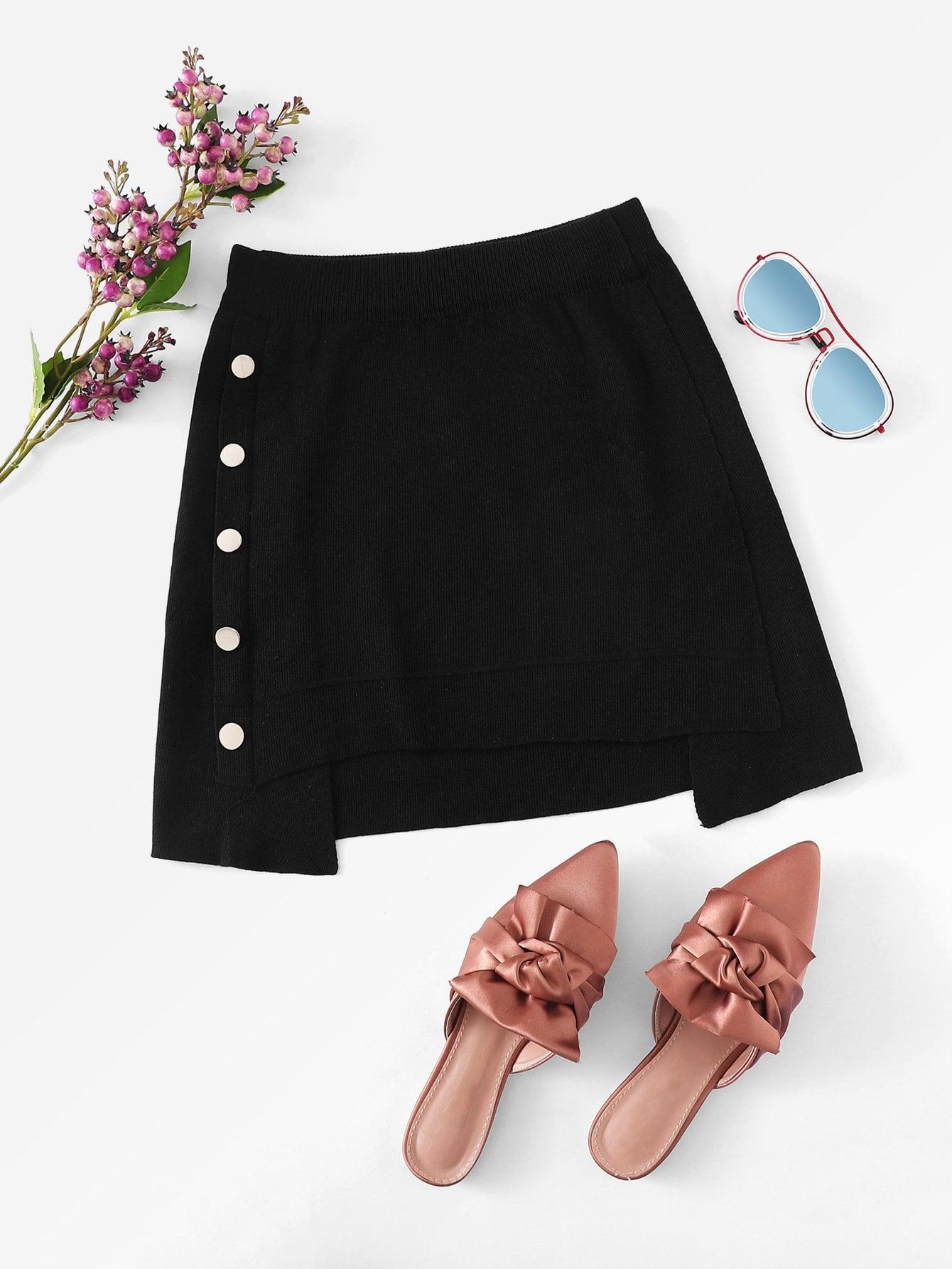 Asymmetrical Hem Single Breasted Skirt