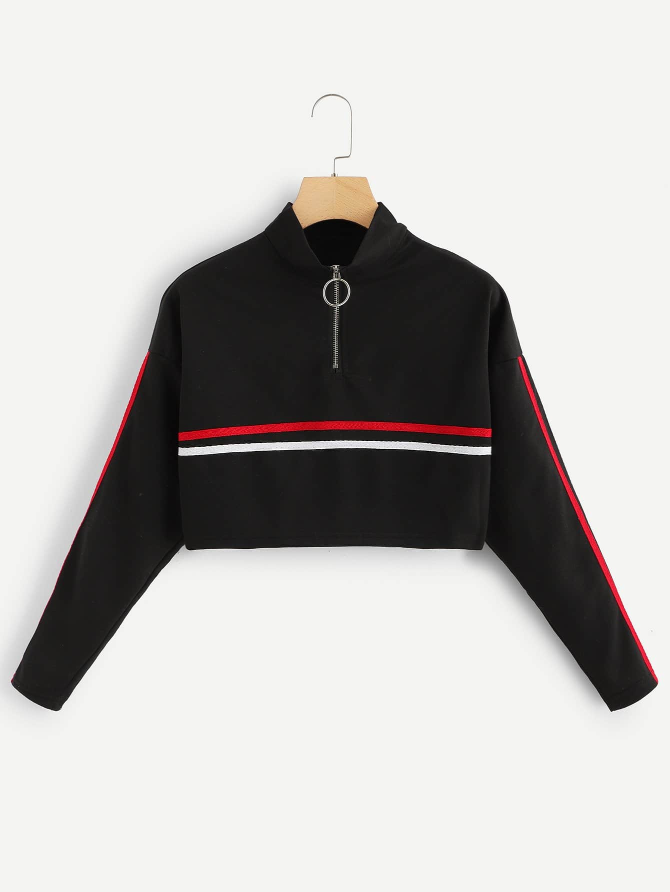 Striped Tape Panel Zipper Front Sweatshirt