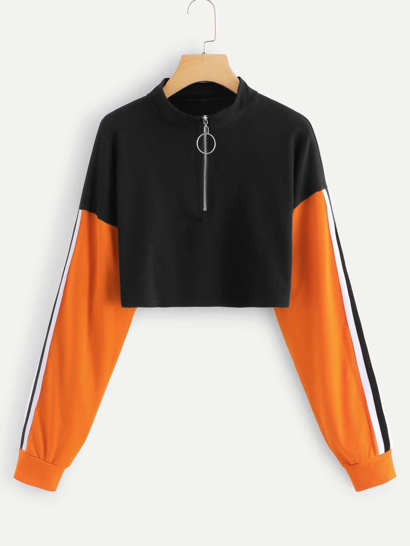 Sweatshirt mit Streifen Band auf den Ärmeln und Farbblock