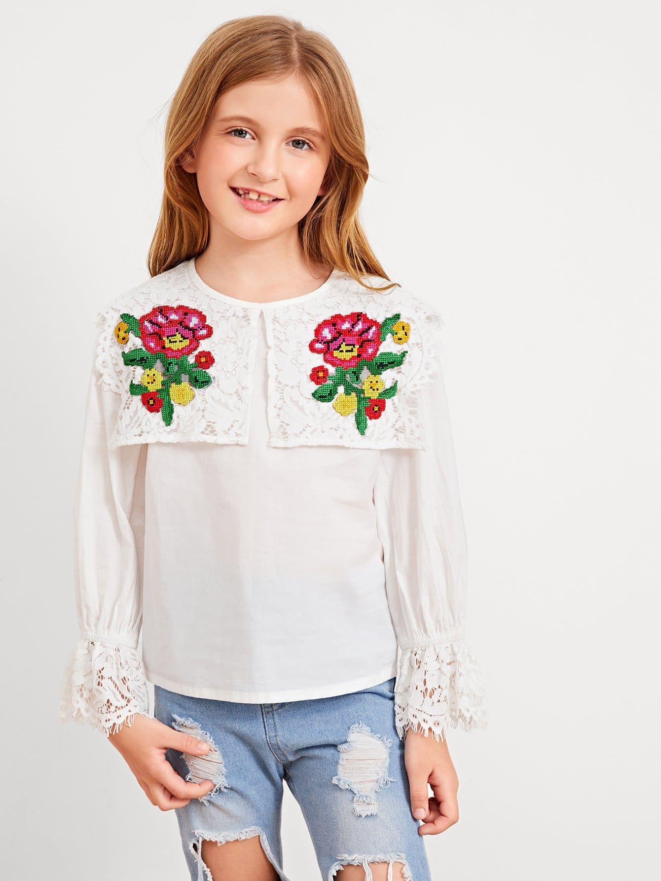 Купить Ситцевая вышитая блузка со симметрическими кружевами для девочки, Dariab, SheIn