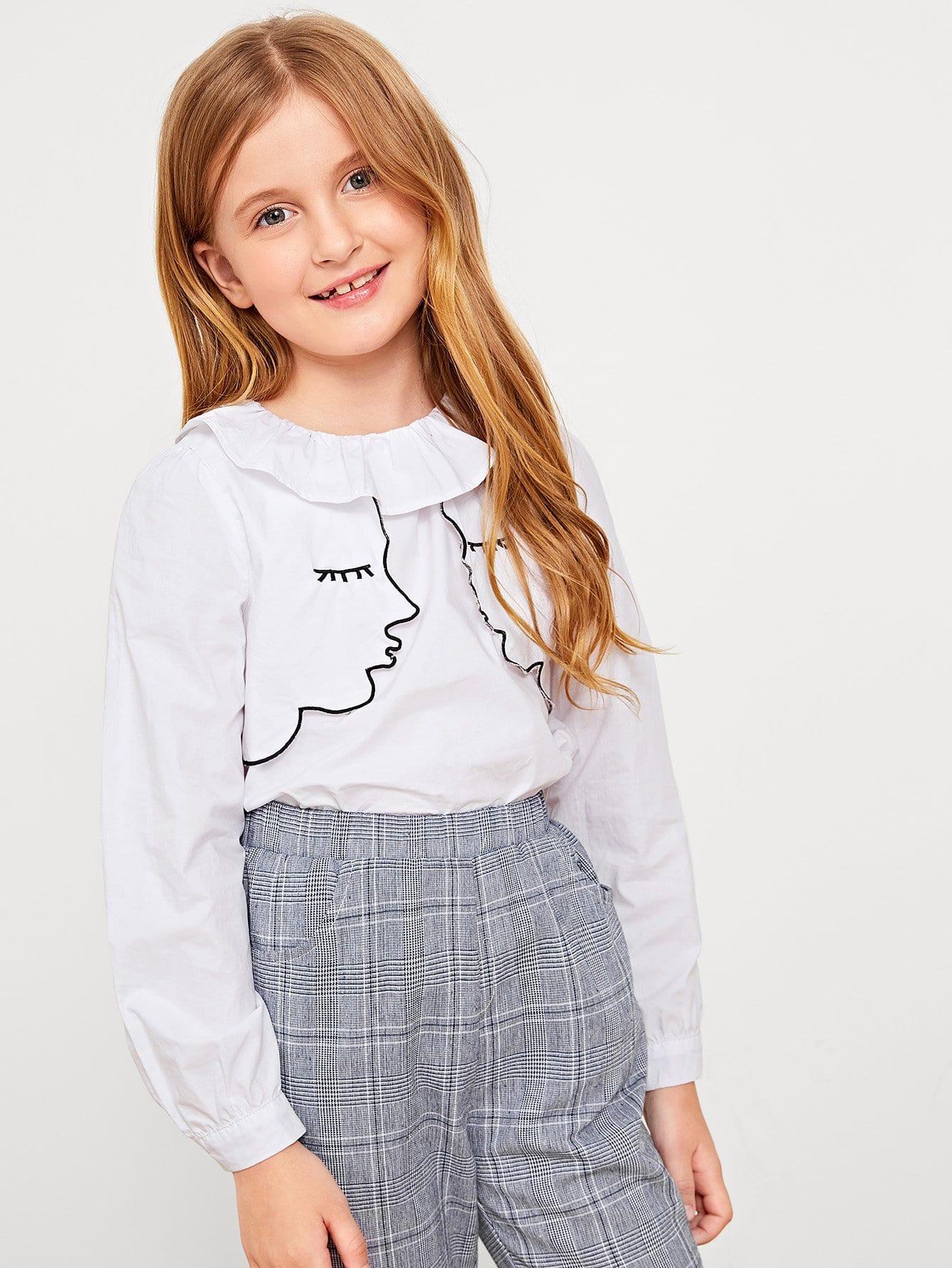 Купить Закройная блузка и воротник с розеткой для девочки, Dariab, SheIn