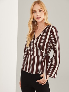 Striped Print Belted Wrap Blouse