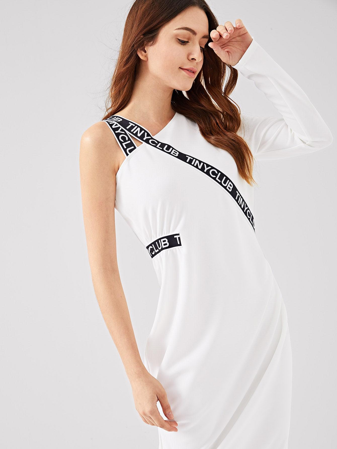 Купить Наклейка с лентой Асимметричное платье для карандашей из шеи, Jana, SheIn