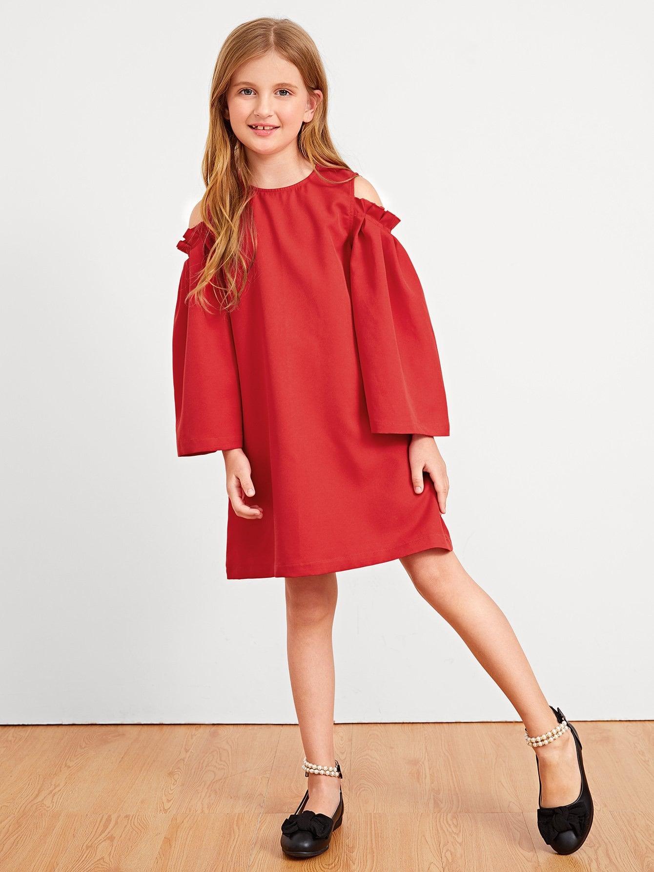 Девушки Frill Trim Cold Shoulder Tunic Dress