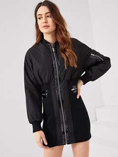 Zip Detail Skinny Bomber Dress