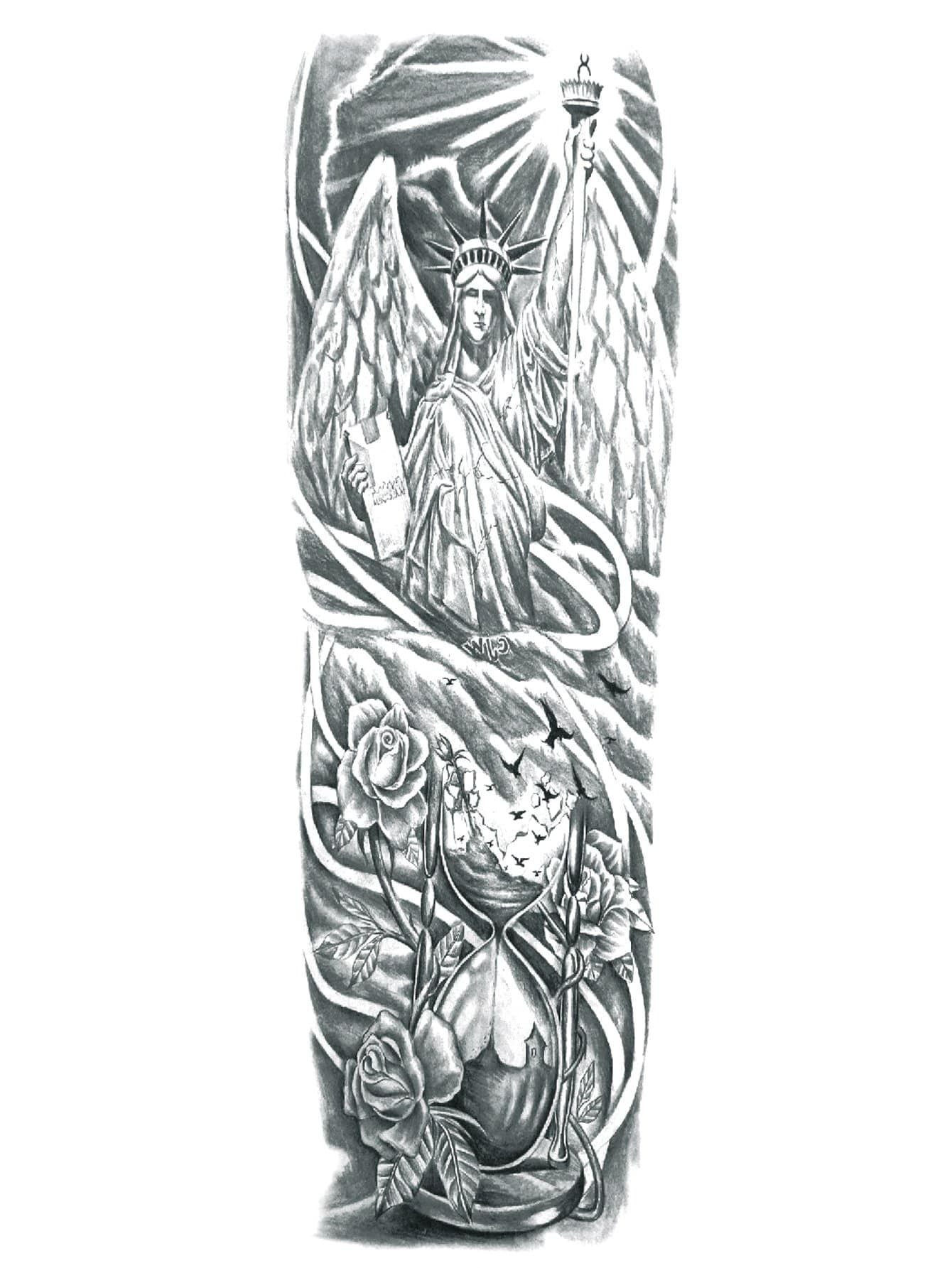 Figure & Flower Tattoo Sticker