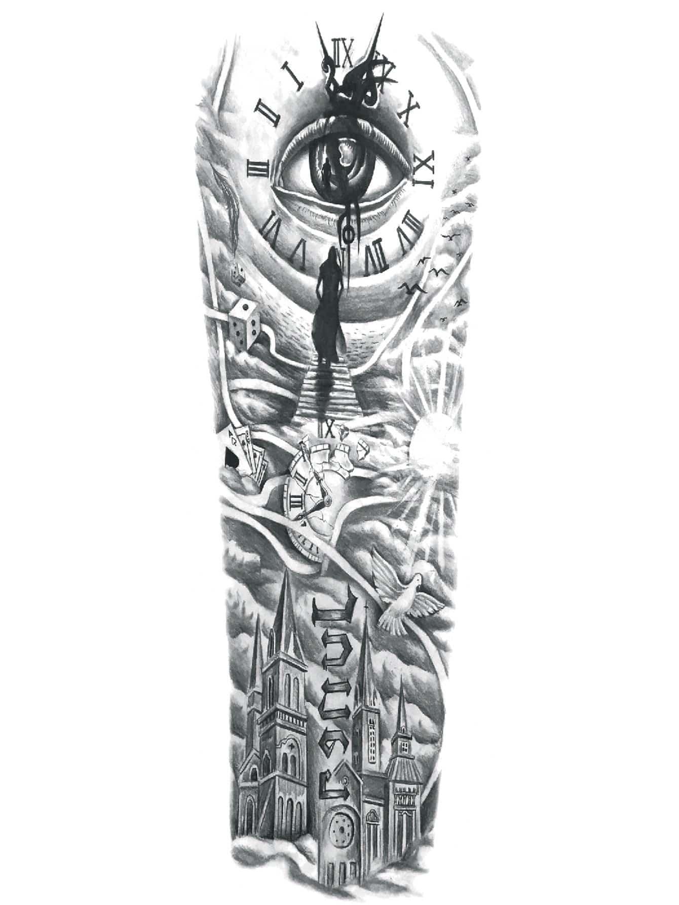 Eye & Figure Pattern Tattoo Sticker
