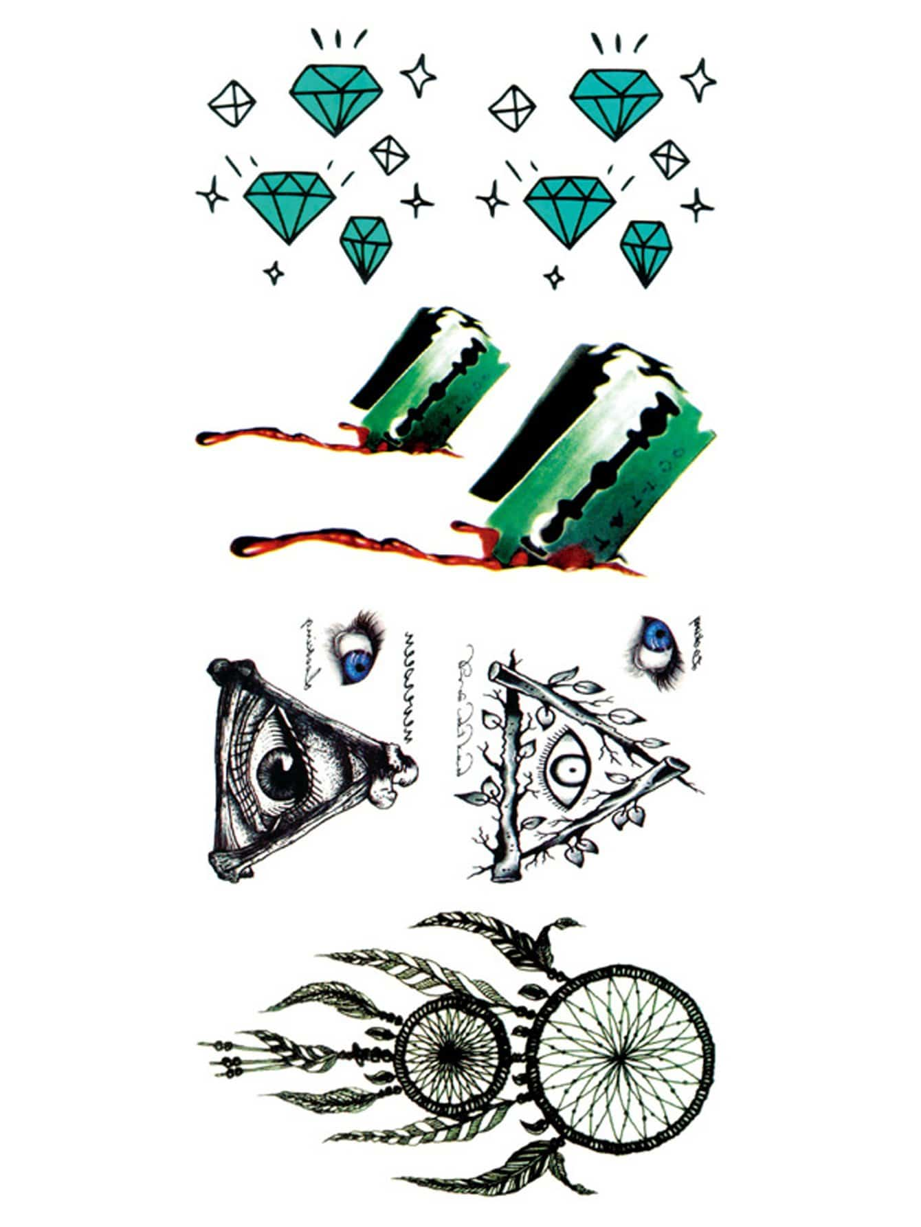 Купить Наклейка татуировка с рисунками Dreamcatcher и хрустали, null, SheIn