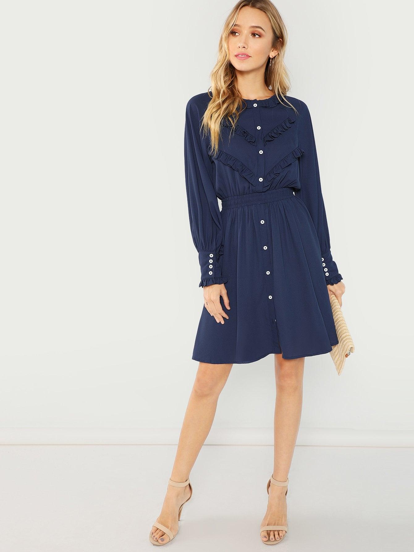 Купить Твердое платье на пуговицах с оборками, Racquelle Lawrence, SheIn