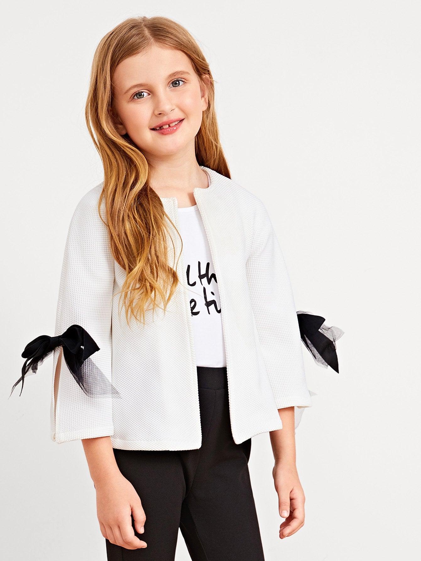 Купить Открытая передняя куртка для девочек Mesh Bow Sleeve, Dariab, SheIn