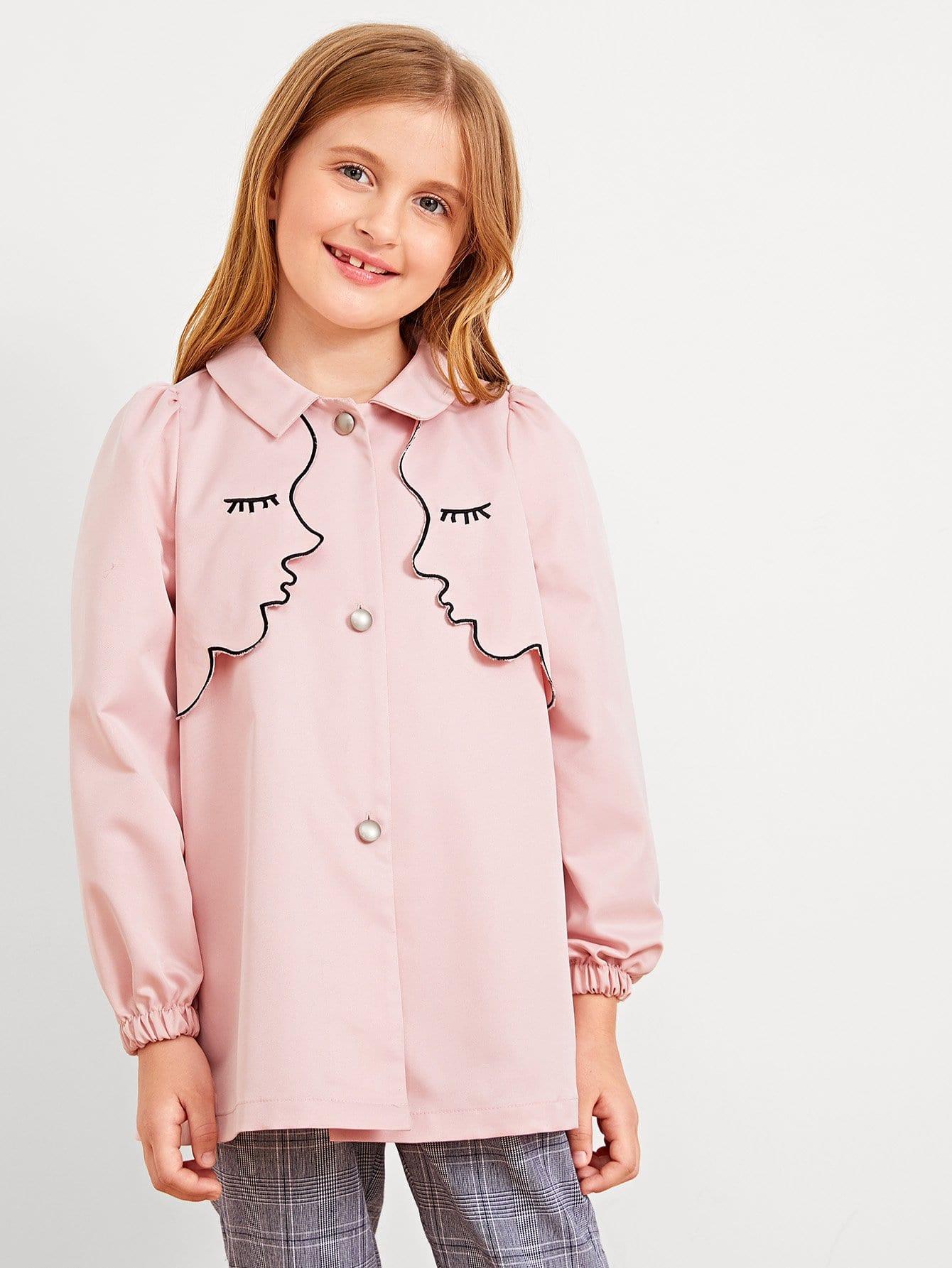 Купить Куртка и с украшением пуговицы и кисти для девочки, Dariab, SheIn