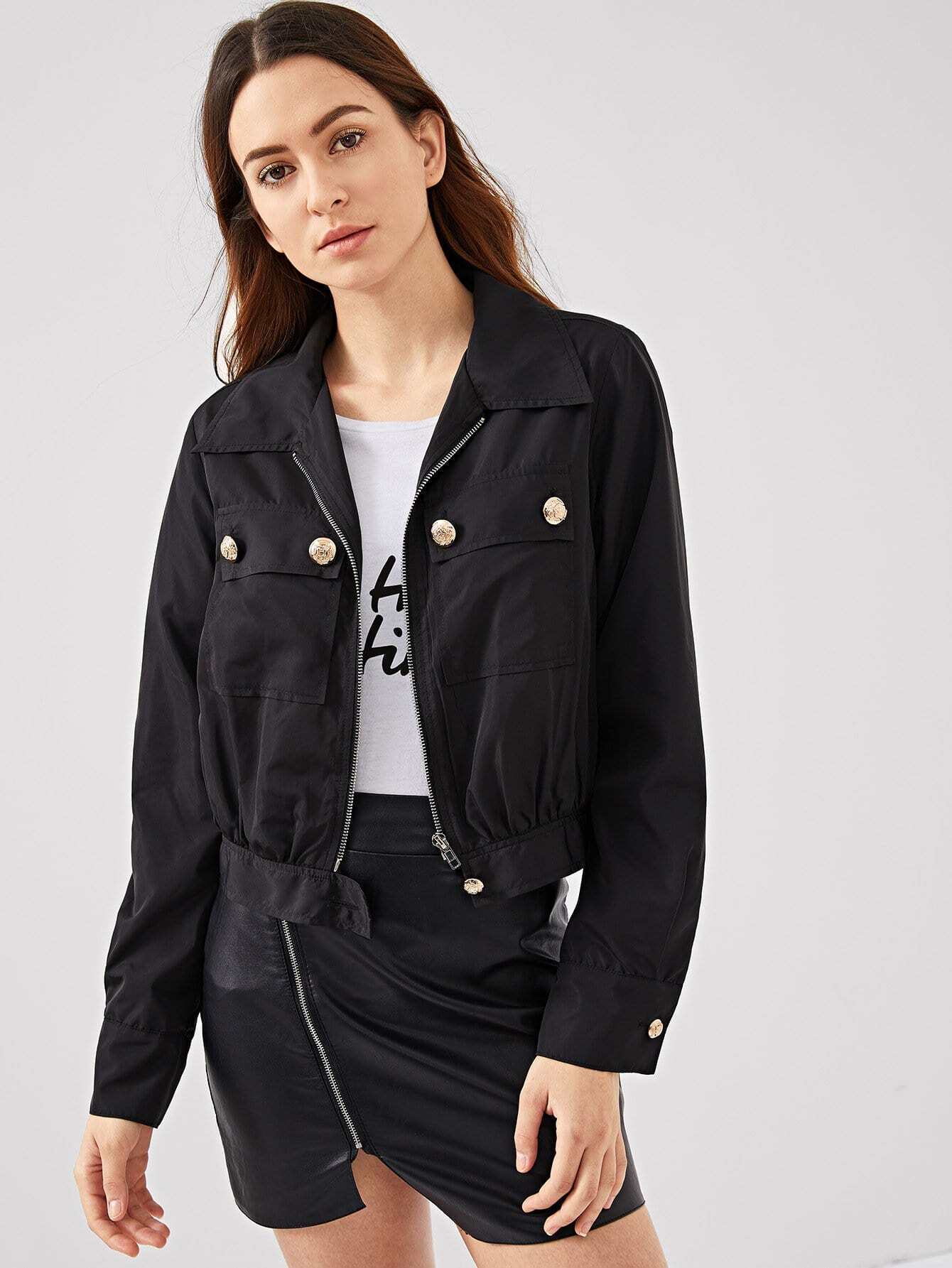 Button Detail Pocket Front Zip Up Jacket другие 11 11