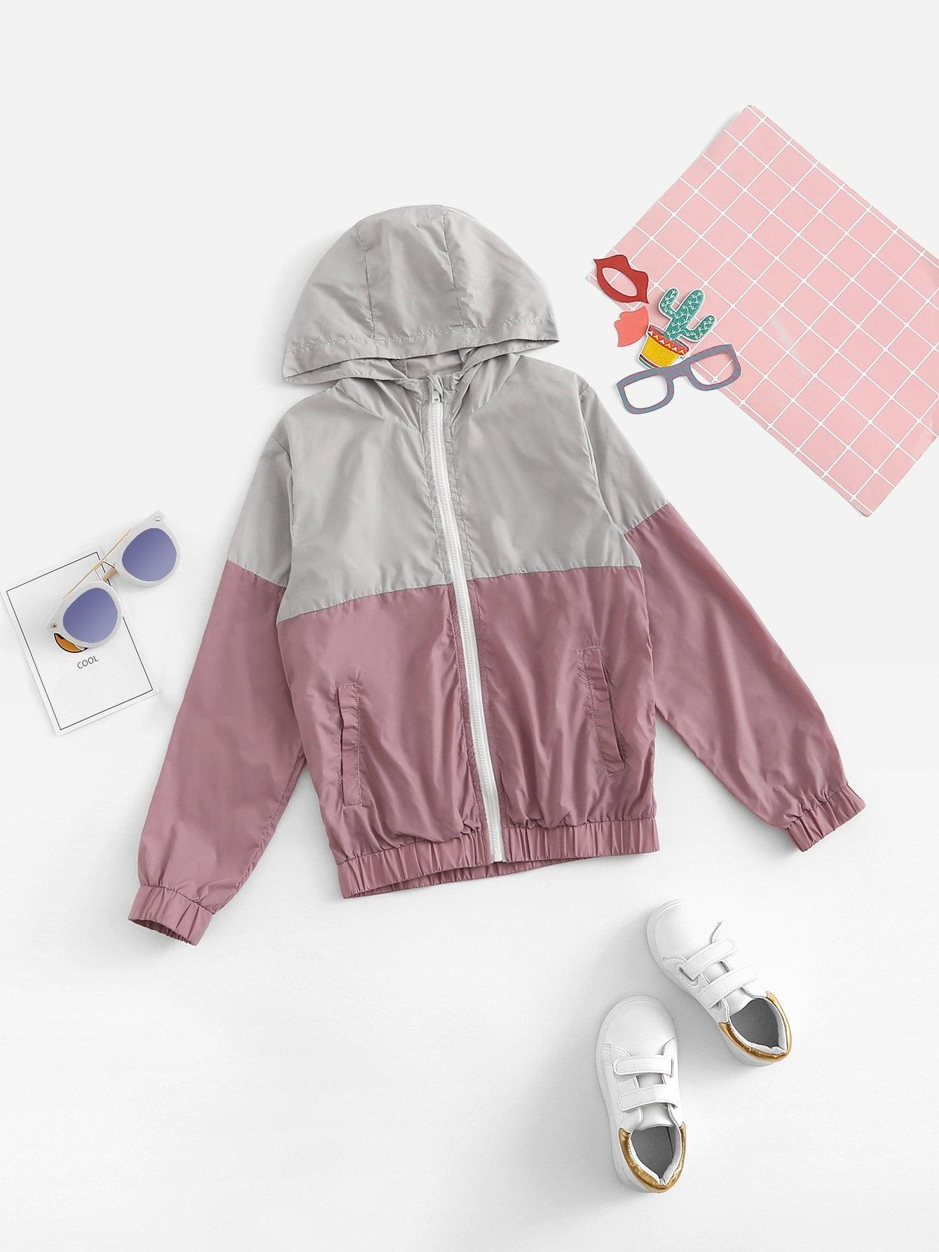Купить Цветная кусковая ветровка с капюшоном для деовчки, null, SheIn