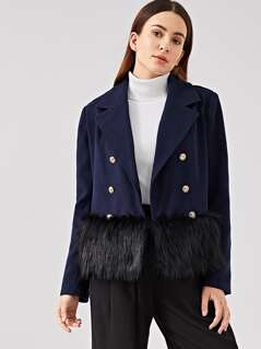Faux Fur Trim Double Breasted Coat