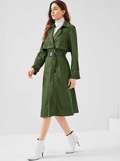 Contrast Stitch Layered Trench Coat With Belt