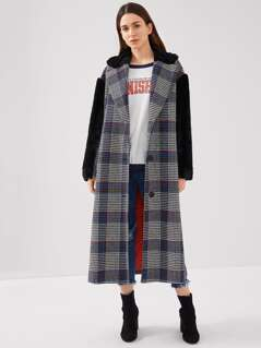 Contrast Faux Fur Embellished Plaid Longline Coat