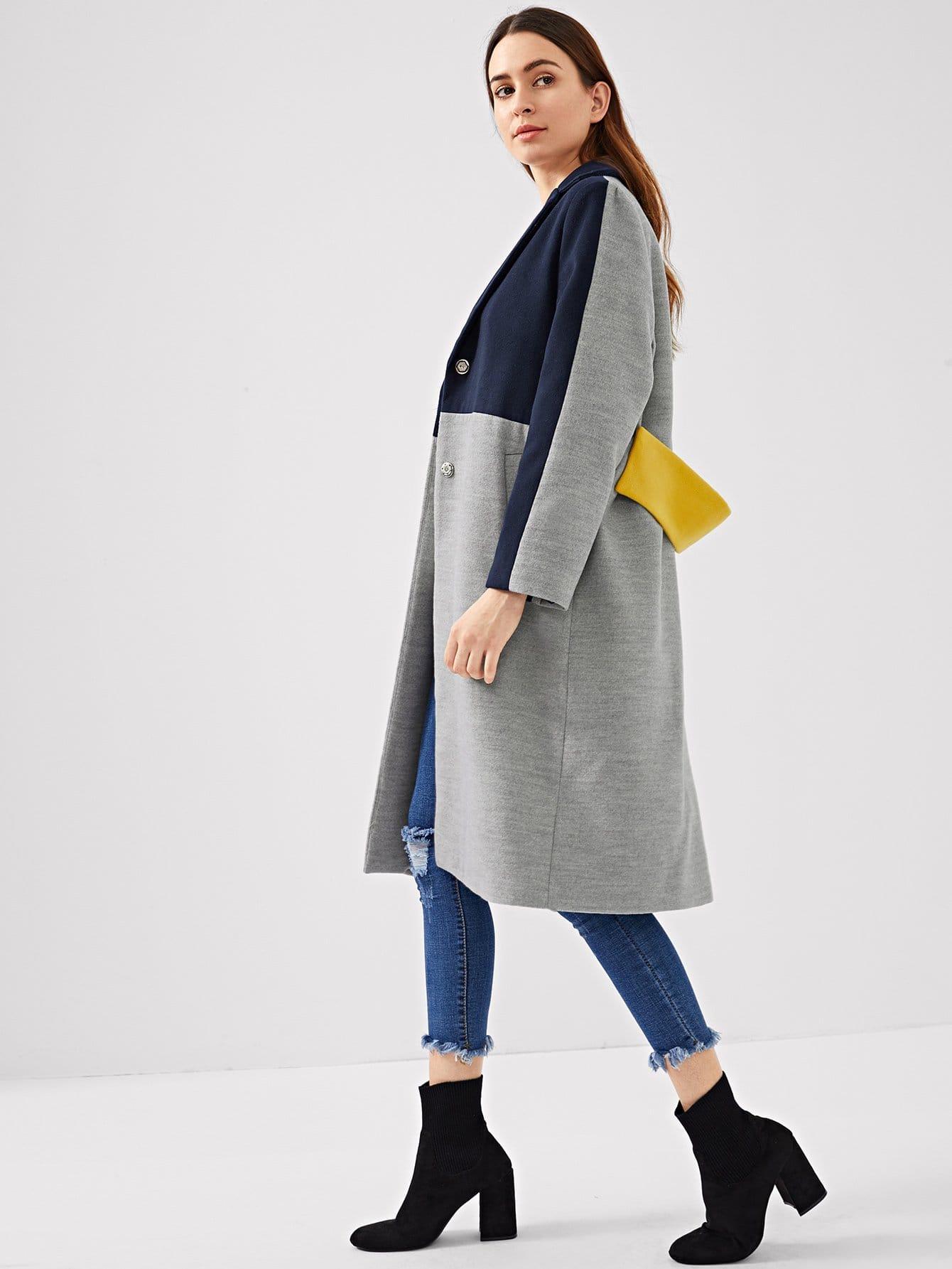 Купить Цветное кусковое пальто с карманами, Jana, SheIn