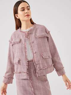 Frayed Trim Button Up Coat