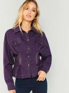Zip Detail Button Up Coat