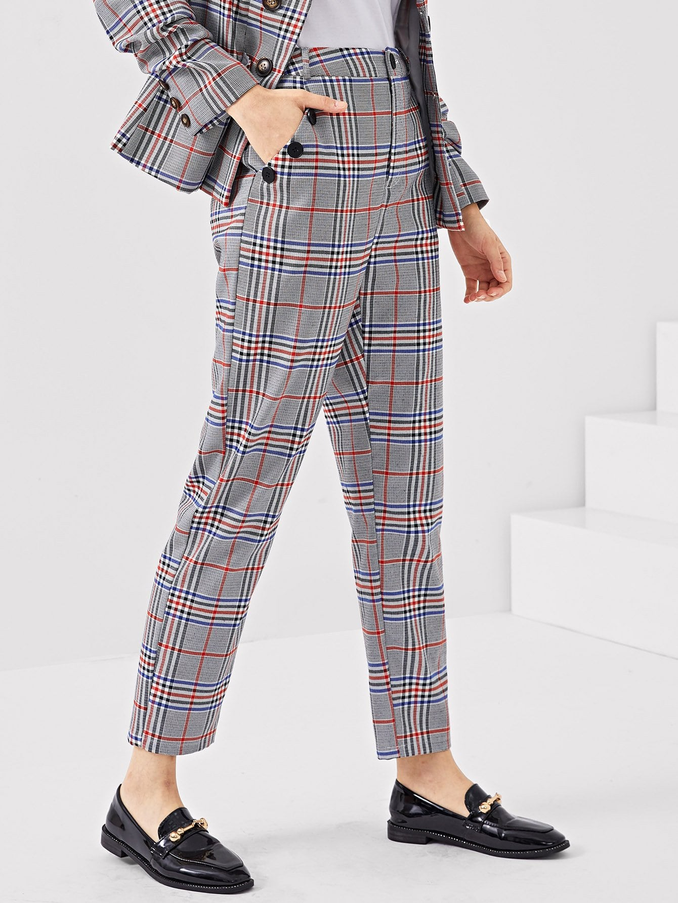 Купить Клетчатые брюки на пуговицах с наклонными карманами, Jana, SheIn