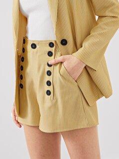 Double Button Embellished Slant Pocket Striped Shorts