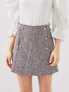 Double Breasted Frayed Edge Tweed Skirt