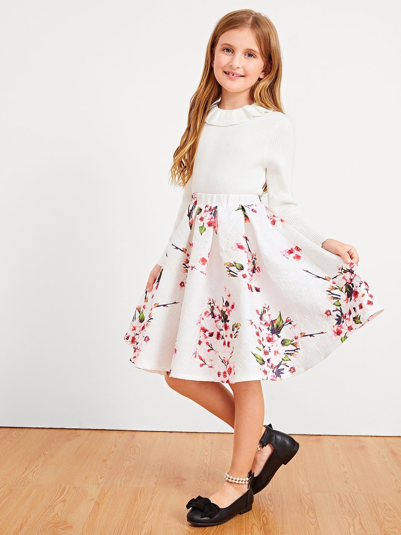 Купить Ситцевая юбка и с басоном эластичным для девочки, Dariab, SheIn