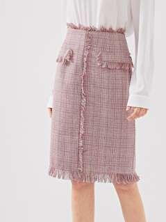 Frayed Edge Tweed Skirt