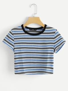 Contrast Tape Striped Print Ribbed Tee