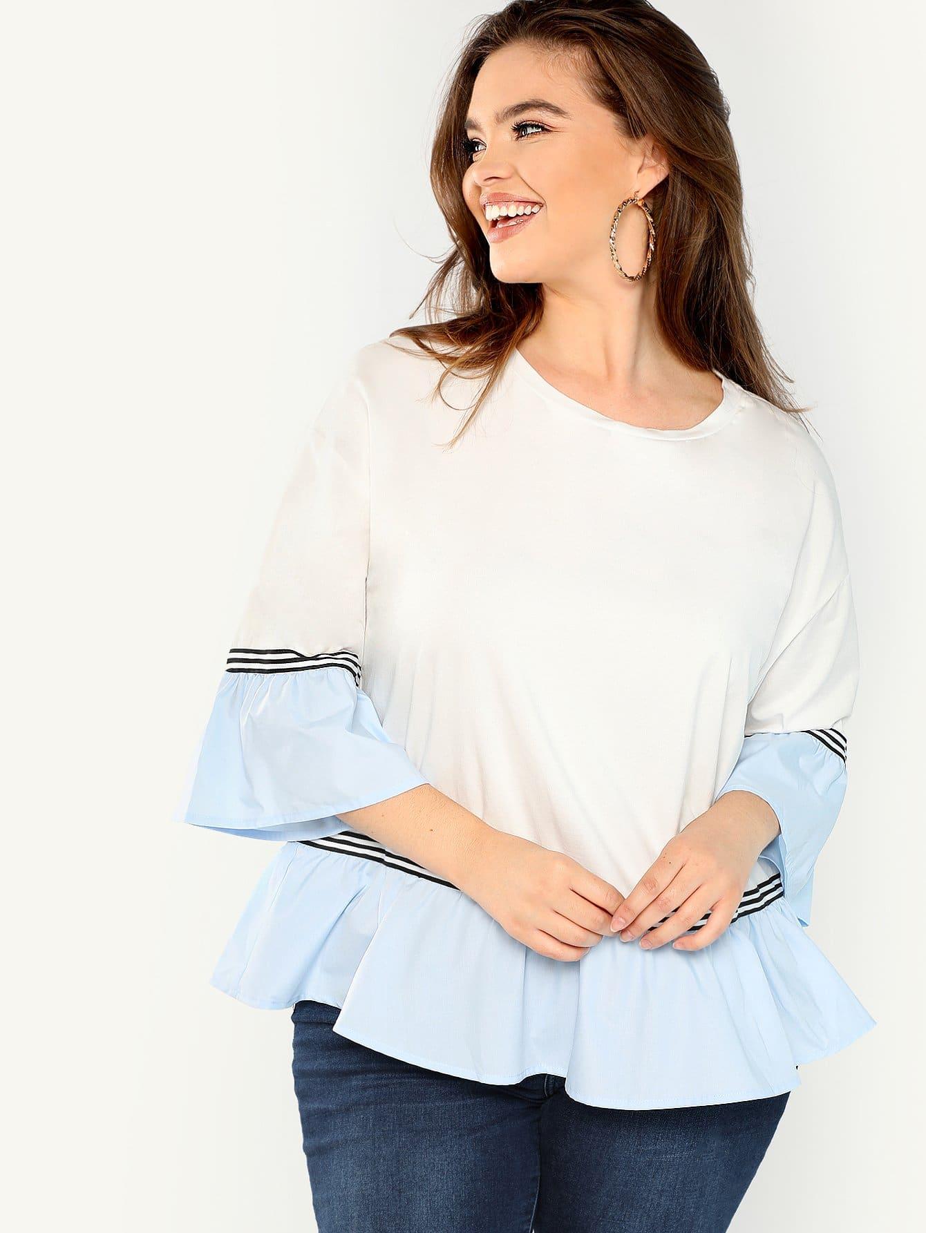 Купить Плюс размеры контрастная футболка с оброками, Faith Bowman, SheIn