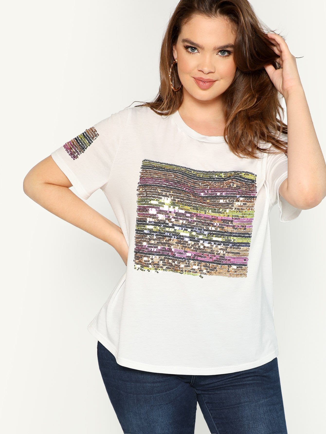 Plus Sequin Striped Short Sleeve Tee раковина roca diverta 75 75х45 см 327110000