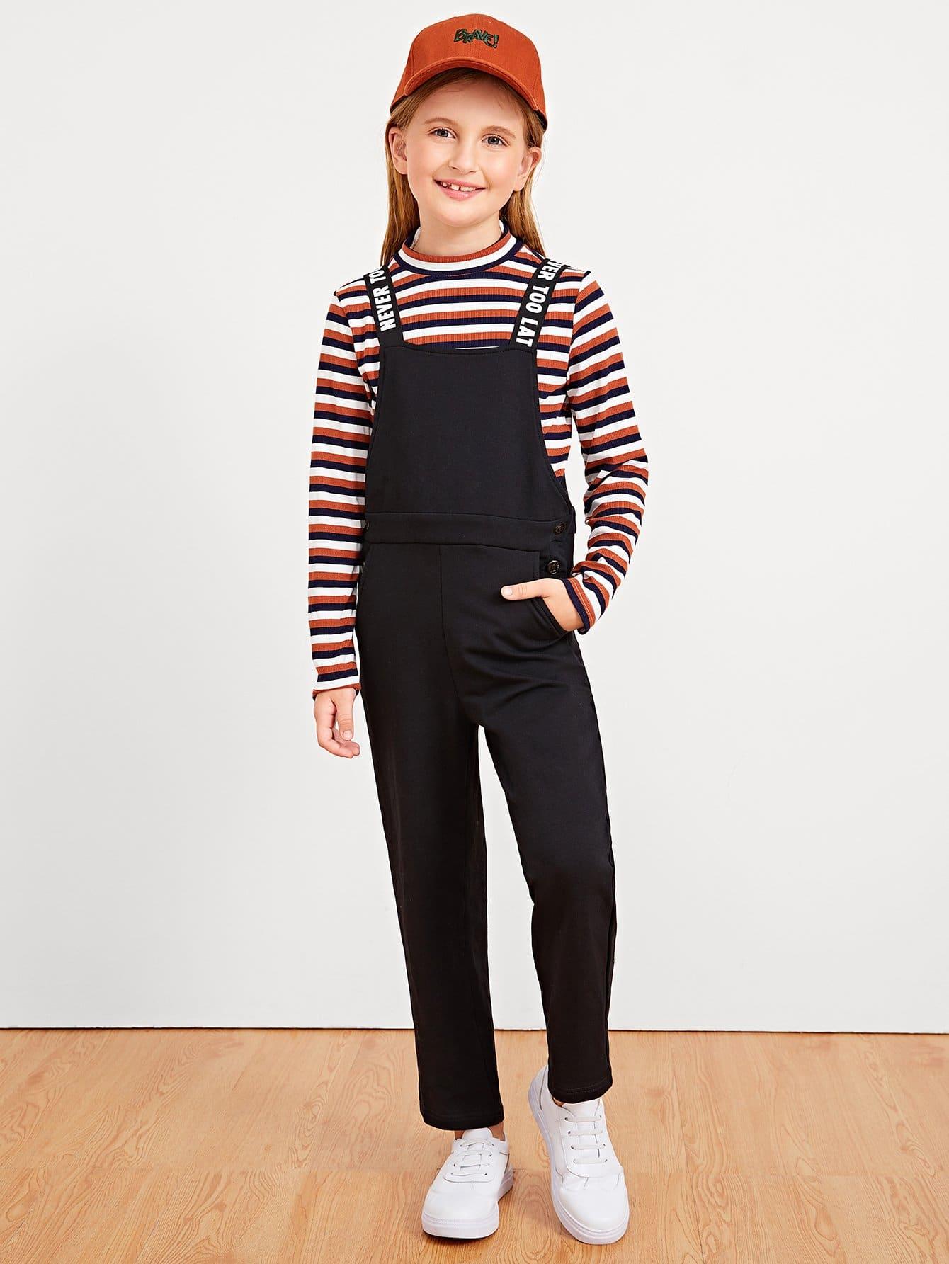 Купить Девушки полосатые наборы для печати и брюк, Dariab, SheIn