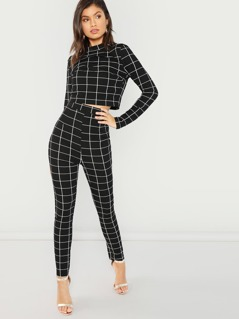 Mock Neck Plaid Top & Pant Set