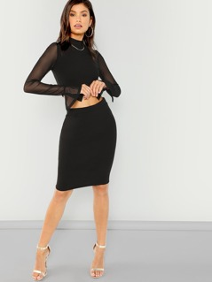Bell Sleeve Solid Top & Skirt Set