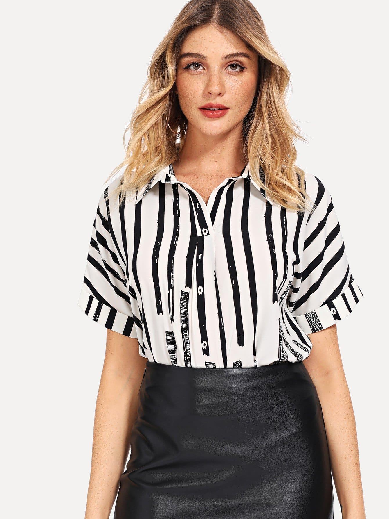 Купить Рулонная рукавная полосатая блузка, Nathane, SheIn