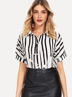 Roll Up Sleeve Striped Blouse