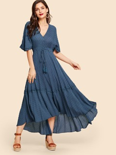 Flutter Sleeve Lace Trim Button Up Jacquard Dress